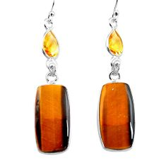 19.76cts natural brown tiger's eye citrine 925 silver dangle earrings p78701