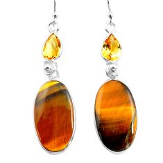 18.39cts natural brown tiger's eye citrine 925 silver dangle earrings p78705