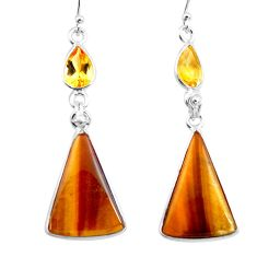 16.71cts natural brown tiger's eye citrine 925 silver dangle earrings p78706