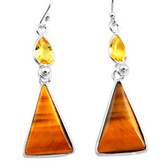 16.07cts natural brown tiger's eye citrine 925 silver dangle earrings p78707