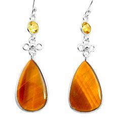 17.90cts natural brown tiger's eye citrine 925 silver dangle earrings p78708