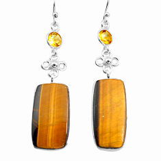 19.73cts natural brown tiger's eye citrine 925 silver dangle earrings p78711