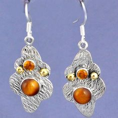 NATURAL BROWN TIGERS EYE 925 SILVER TWO TONE DANGLE EARRINGS JEWELRY G93841