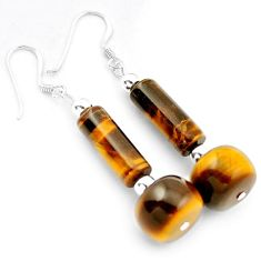 NATURAL BROWN TIGERS EYE 925 STERLING SILVER DANGLE EARRINGS JEWELRY H5015