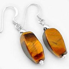 Natural brown tigers eye 925 sterling silver dangle earrings jewelry h50159