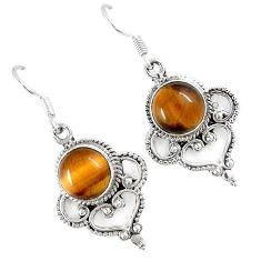 Natural brown tigers eye 925 sterling silver dangle earrings jewelry h68009