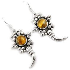 Natural brown tigers eye 925 sterling silver ox horn dangle earrings h67557