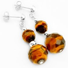 NATURAL BROWN TIGERS EYE BEADS SHAPE 925 SILVER DANGLE EARRINGS JEWELRY H5017