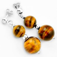 NATURAL BROWN TIGERS EYE ROUND 925 STERLING SILVER DANGLE EARRINGS JEWELRY H5013