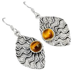 NATURAL BROWN TIGERS EYE ROUND 925 STERLING SILVER DANGLE EARRINGS JEWELRY H8604