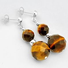 NATURAL BROWN TIGERS EYE ROUND SHAPE 925 SILVER DANGLE EARRINGS JEWELRY H5172