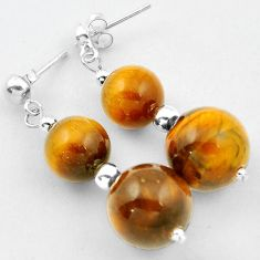 NATURAL BROWN TIGERS EYE ROUND SHAPE EARRINGS 925 SILVER DANGLE JEWELRY H5165