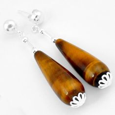 NATURAL BROWN TIGERS EYE TEARDROP 925 STERLING SILVER DANGLE EARRINGS H5176
