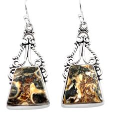 15.55cts natural brown turritella fossil snail agate 925 silver earrings p72650