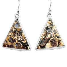 20.07cts natural brown turritella fossil snail agate 925 silver earrings p72758