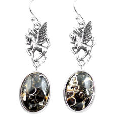 Natural brown turritella fossil snail agate 925 silver unicorn earrings p72573