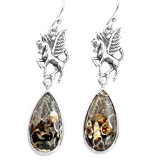 Natural brown turritella fossil snail agate 925 silver unicorn earrings p72577