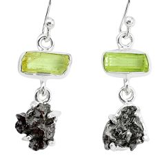 18.60cts natural campo del cielo apatite rough 925 silver earrings p35303
