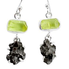 25.00cts natural campo del cielo apatite rough 925 silver earrings p35310