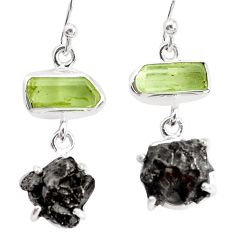 20.76cts natural campo del cielo apatite rough fancy 925 silver earrings p35315