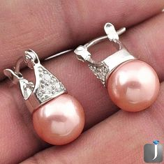 9.22cts NATURAL CHAMPAGNE PEARL TOPAZ 925 STERLING SILVER HOOP EARRINGS F40052