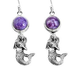 6.32cts natural charoite (siberian) 925 silver fairy mermaid earrings p55478