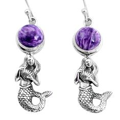6.76cts natural charoite (siberian) 925 silver fairy mermaid earrings p60768
