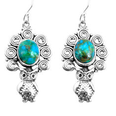 7.99cts natural chrysocolla 925 sterling silver owl earrings jewelry p52011