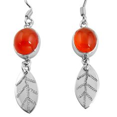 9.99cts natural cornelian (carnelian) 925 silver deltoid leaf earrings d32450