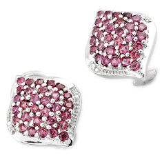 NATURAL DIAMOND RED RHODOLITE 925 STERLING SILVER STUD EARRINGS JEWELRY H2765