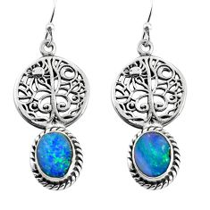 6.02cts natural doublet opal australian 925 silver tree of life earrings p54855