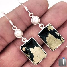 22.11cts NATURAL GOLDEN BLACK PYRITE PEARL 925 SILVER DANGLE EARRINGS F4544