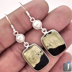 25.79cts NATURAL GOLDEN BLACK PYRITE PEARL 925 SILVER DANGLE EARRINGS F4546