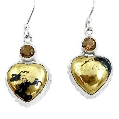 21.72cts natural golden pyrite in magnetite 925 silver heart earrings p50661
