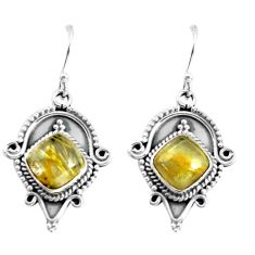 9.10cts natural golden rutile 925 sterling silver dangle earrings jewelry p58195