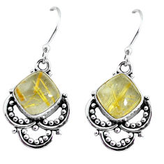 6.45cts natural golden rutile 925 sterling silver dangle earrings jewelry p58214