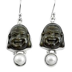 16.20cts natural golden sheen black obsidian 925 silver buddha earrings p78141