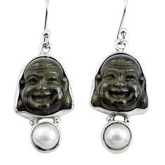 16.73cts natural golden sheen black obsidian 925 silver buddha earrings p78143