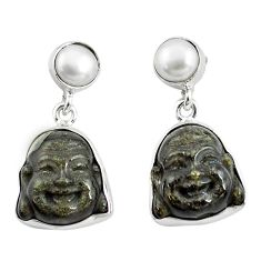 16.73cts natural golden sheen black obsidian 925 silver buddha earrings p78158