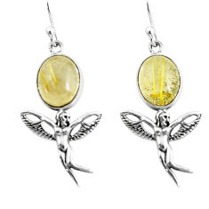 Natural golden tourmaline rutile 925 silver angel wings fairy earrings p54896