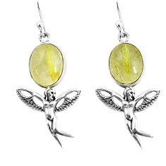 Natural golden tourmaline rutile 925 silver angel wings fairy earrings p60853