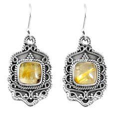 6.48cts natural golden tourmaline rutile 925 silver dangle earrings p52750