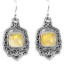 6.63cts natural golden tourmaline rutile 925 silver dangle earrings p52751