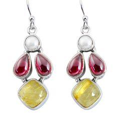 15.95cts natural golden tourmaline rutile 925 silver dangle earrings p57421