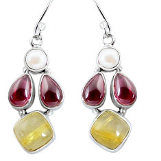 15.51cts natural golden tourmaline rutile 925 silver dangle earrings p57422
