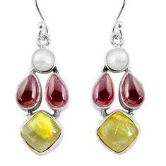 15.47cts natural golden tourmaline rutile 925 silver dangle earrings p57427