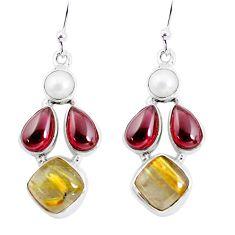 15.16cts natural golden tourmaline rutile 925 silver dangle earrings p57429