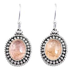 7.04cts natural golden tourmaline rutile 925 silver dangle earrings p58210