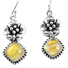 7.24cts natural golden tourmaline rutile 925 silver flower earrings p54922