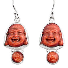 14.72cts natural goldstone 925 silver chandelier buddha charm earrings p88499